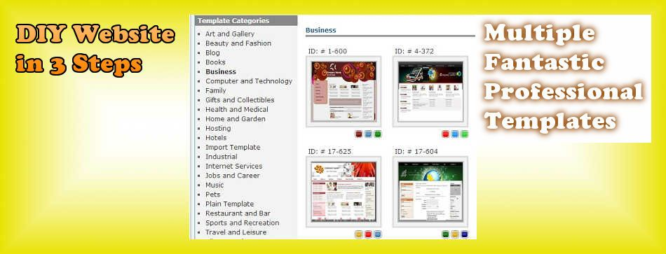 DIY Website Tool with Fantastic Professional Templates